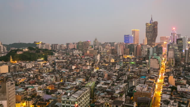 time-lapse of macau skyline aerial view macao china - cotai strip stock videos and b-roll footage