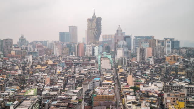 Time-lapse of Macau Skyline aerial view Macao China