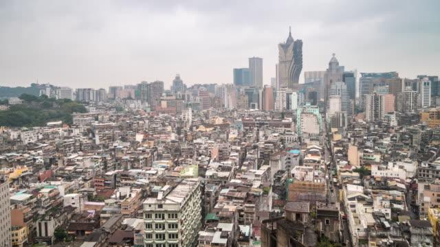 Tids fördröjning av Macau skyline flyg foto vy Macao Kina