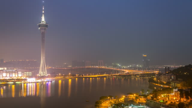 Time-lapse of Macau Tower and Skyline aerial view Macao China