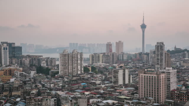 time-lapse of macau tower and skyline aerial view macao china - cotai strip stock videos and b-roll footage
