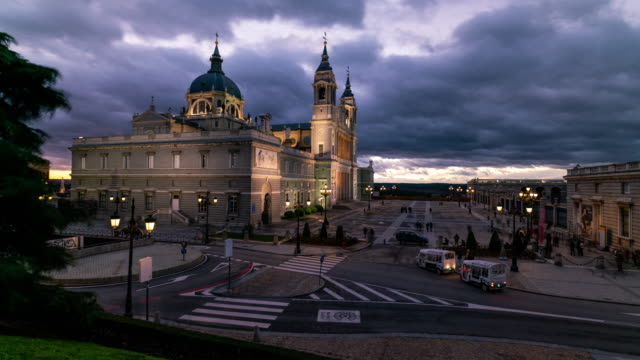 Timelapse of Madrid Cathedral during sunset