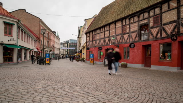 Time-lapse of Malmo downtown Little square Lilla Torg Sweden