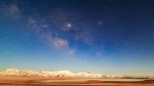 timelapse of milky way galaxy - snowcapped mountain stock videos & royalty-free footage