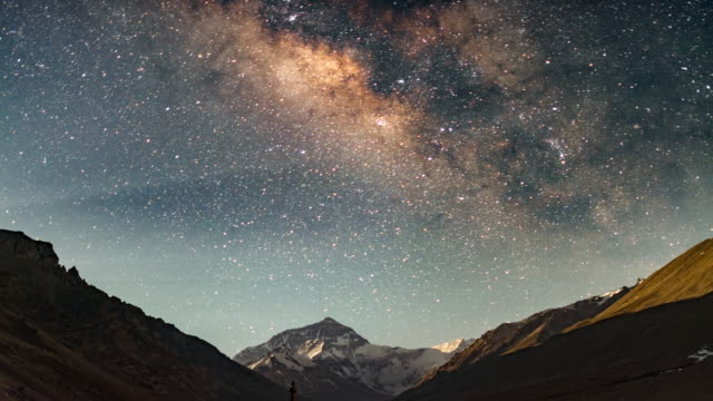 4k timelapse of milky way over mountain everest, everest base camp, tibet, china - tibet stock videos & royalty-free footage