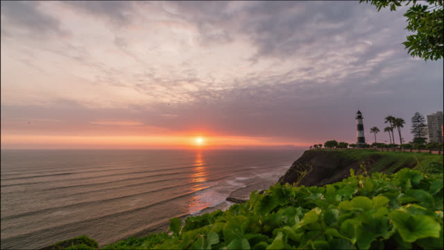 Timelapse of Miraflores coast line and Lighthouse