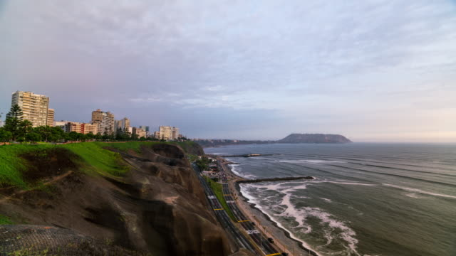 Timelapse of Miraflores coast line in Lima