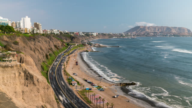 timelapse of miraflores coast line in lima - lima stock videos & royalty-free footage