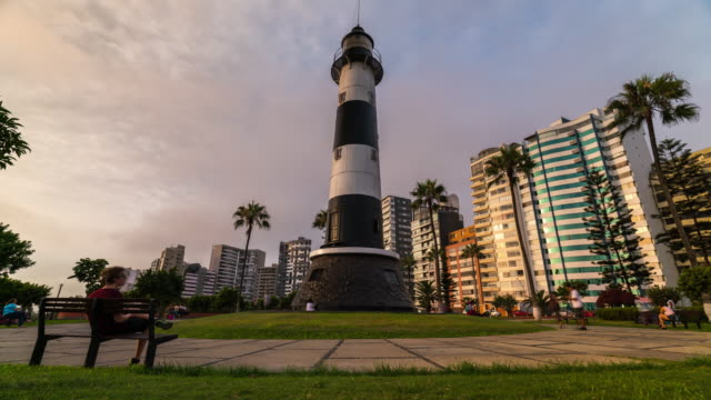 timelapse of miraflores lighthouse - lima stock videos & royalty-free footage
