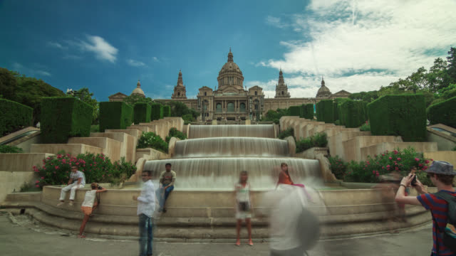 Timelapse of MNAC (Museu Nacional d'Art de Catalunya) with fountain and tourists in Barcelona, Spain.