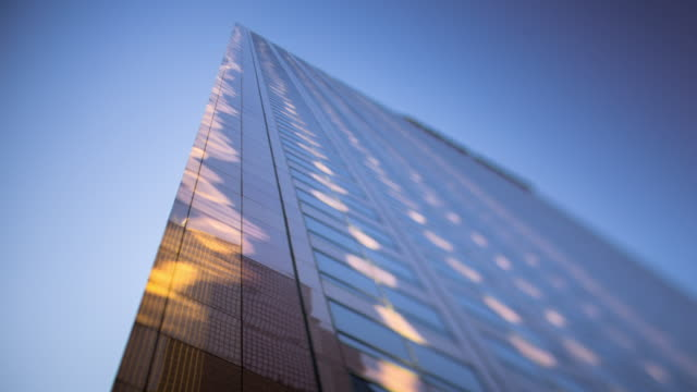 Timelapse of Modern Corporate Building, Downtown Los Angeles Financial District.
