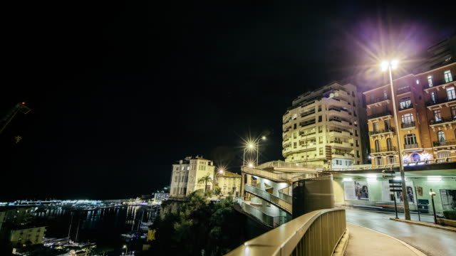 time-lapse of monaco at night - monte carlo stock-videos und b-roll-filmmaterial