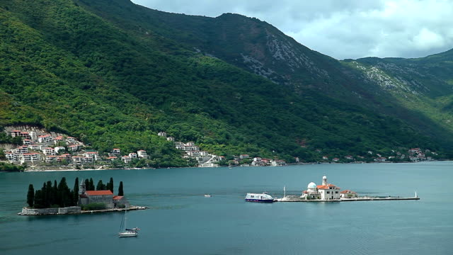 time-lapse of montenegro landscape - perast stock videos and b-roll footage