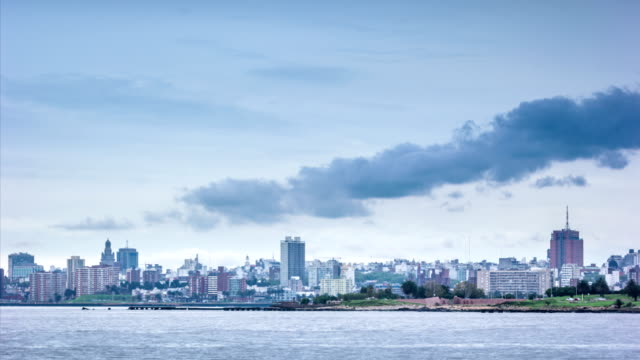 timelapse of montevideo skyline - uruguay stock-videos und b-roll-filmmaterial