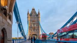 Timelapse of Morning Traffic in London Tower Bridge, UK, England