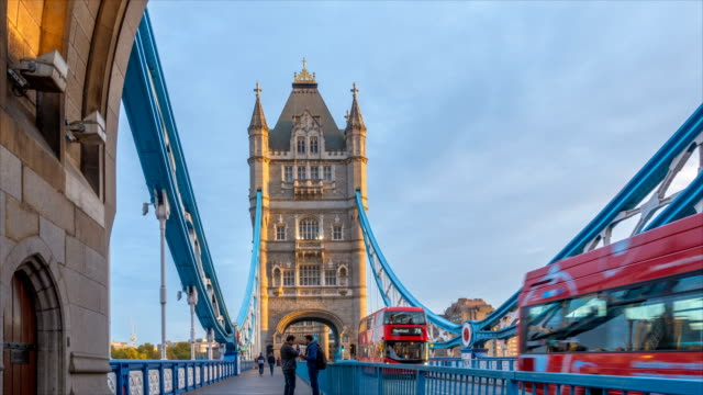 timelapse of morning traffic in london tower bridge, uk, england - tower bridge stock videos & royalty-free footage