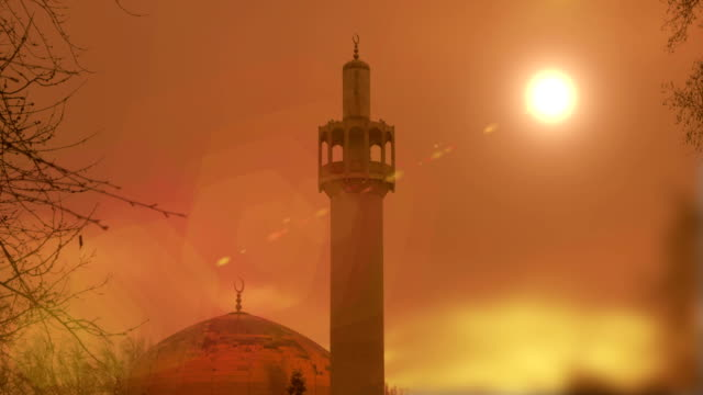 Timelapse of Mosque at sunset
