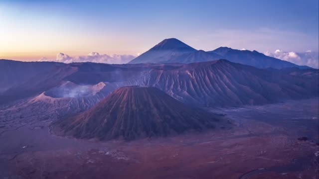 time-lapse of mount bromo active volcano in morning, semeru area at east java, indonesia - mount semeru stock videos & royalty-free footage