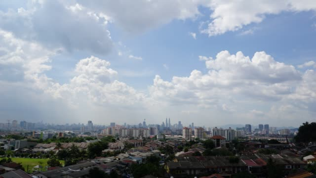Timelapse of moving clouds over Kuala Lumpur, Malaysia