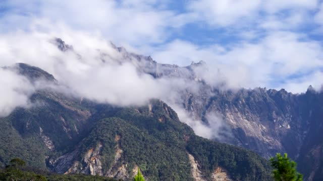 Timelapse of moving clouds over Mount Kinabalu in Sabah, Malaysia