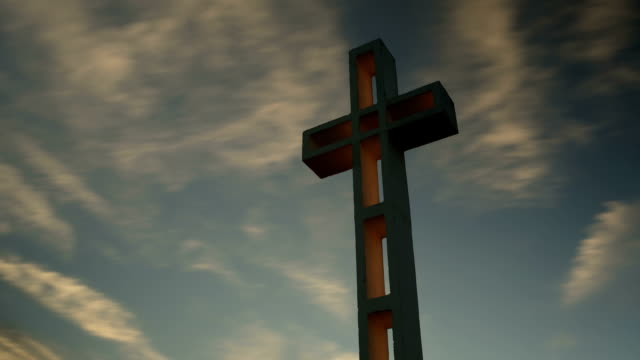 time-lapse of Mt Soledad war memorial cross at Sunset.