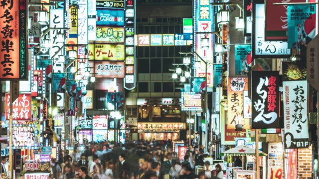 timelapse of night market in kabukicho, tokyo - advertisement stock videos & royalty-free footage