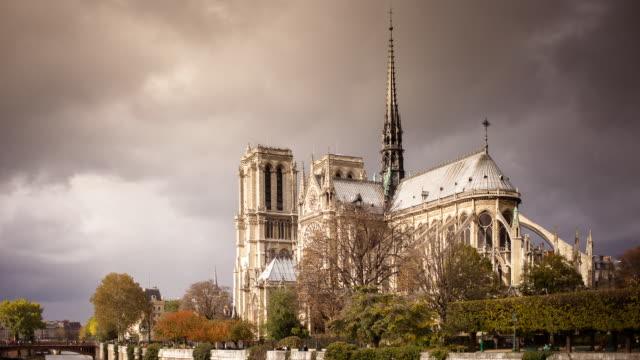 timelapse of notre dame - notre dame de paris stock videos and b-roll footage