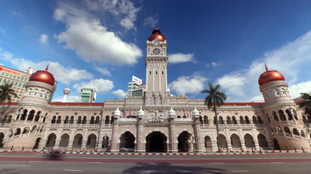 timelapse of old city hall in merdeka square kuala lumpur - facade stock videos & royalty-free footage