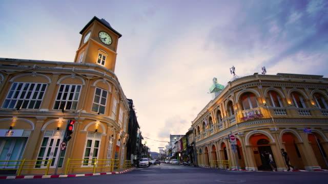 4k timelapse of old town phuket thailand - phuket stock videos & royalty-free footage
