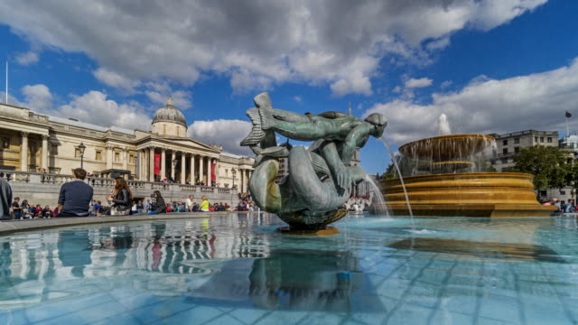 Time-lapse of one of the fountains of Trafalgar Square and National Gallery, London, UK