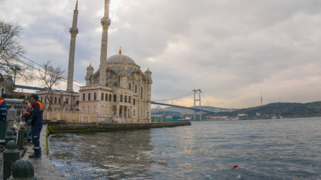 time-lapse of ortakoy mosque istanbul, turkey - ortakoy mosque stock videos and b-roll footage