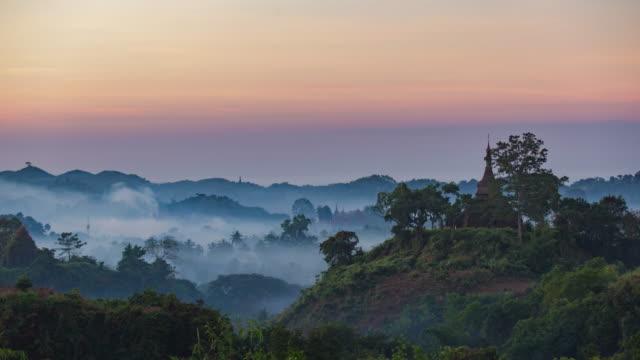 4K Timelapse of Pagoda in Mrauk-U