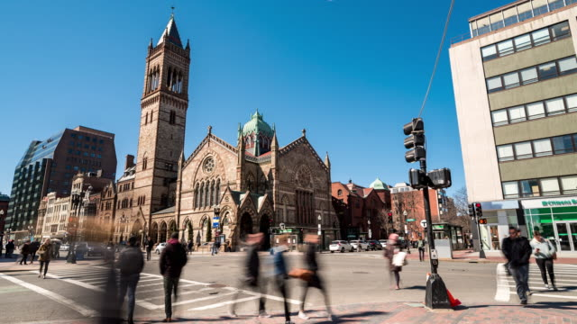 time-lapse of pedestian crowded at old south church newbury shopping street in boston ma usa - back bay boston stock videos & royalty-free footage