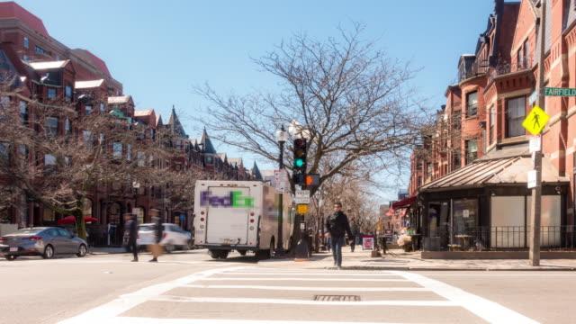 time-lapse of pedestian crowded newbury shopping street in boston ma usa - back bay boston stock videos & royalty-free footage