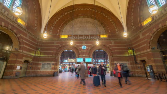 time-lapse of pedestian trabeller crowded at copenhagen train station terminal - underground stock videos & royalty-free footage