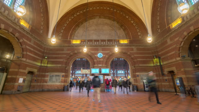 Time-lapse of Pedestian Trabeller crowded at Copenhagen Train Station Terminal