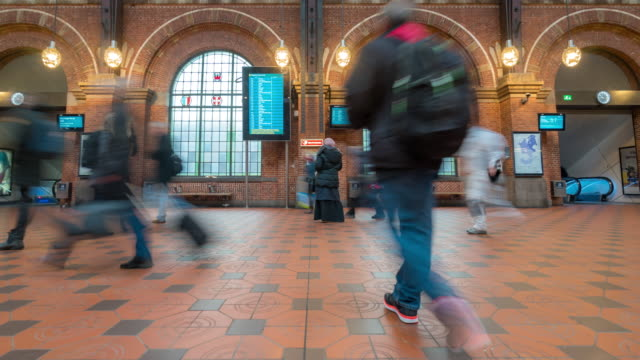 Time-lapse of Pedestian Traveller crowded at Copenhagen Train Station Terminal