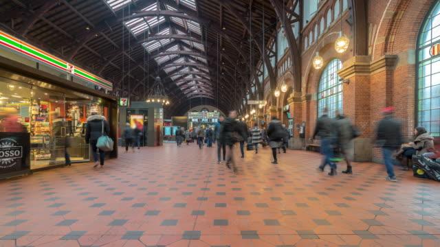 コペンハーゲン鉄道ターミナル駅で混雑している歩行旅行者の時間経過 - コペンハーゲン点の映像素材/bロール