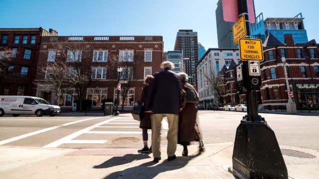 time-lapse of pedestrian crowded newbury shopping street in boston ma usa - back bay boston stock videos & royalty-free footage