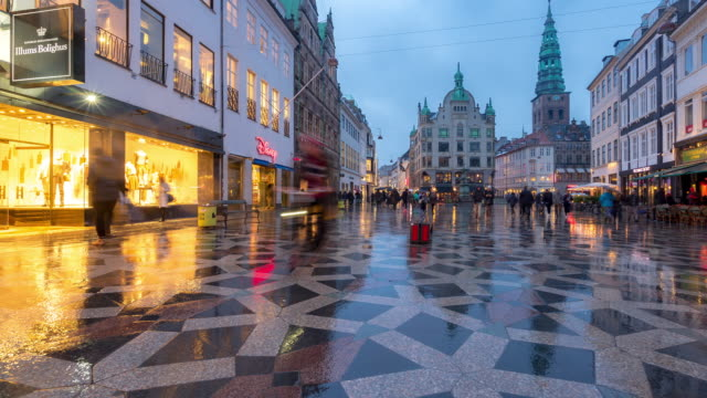 time-lapse of pedestrian crowded stroget shopping street in copenhagen denmark - northern europe stock videos & royalty-free footage