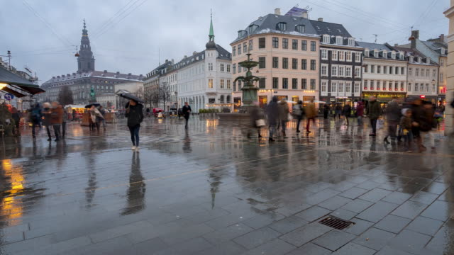 time-lapse of pedestrian crowded stroget shopping street in copenhagen denmark - copenhagen video stock e b–roll