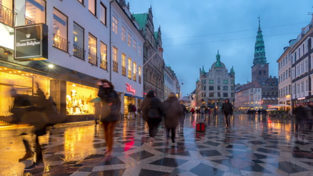 Time-lapse of Pedestrian crowded Stroget shopping street in Copenhagen Denmark