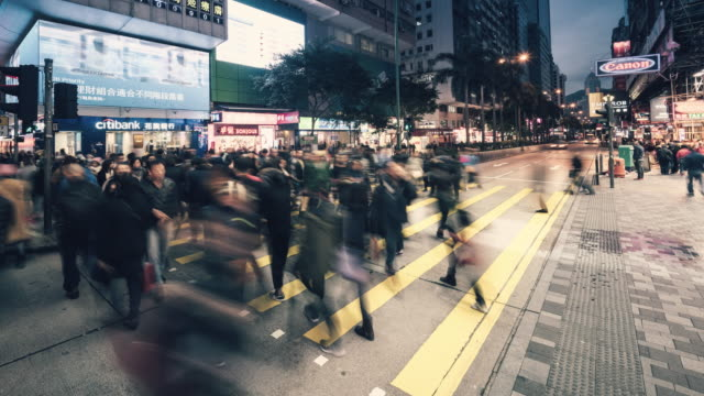 Time-lapse of pedestrians crossing on Nathan Road, Hong Kong