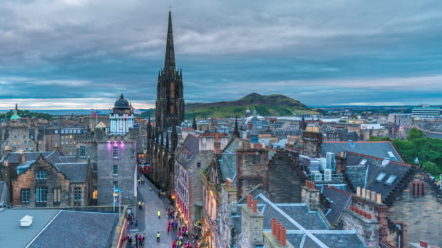 Timelapse of Pedestrians Walking on the Royal Mile at Nightfall