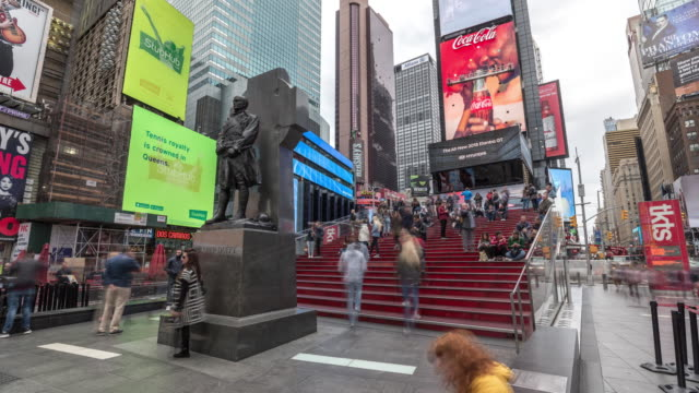 timelapse of people crowd on a famous stairs of times square in new york. usa, 2017 - electronic billboard stock videos and b-roll footage