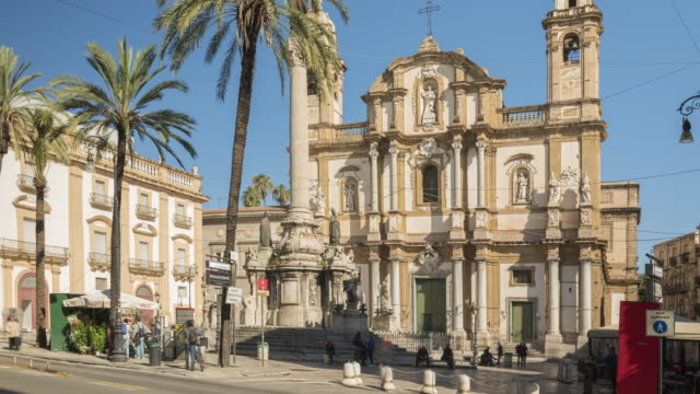 timelapse of people tourist visiting the church of saint dominic church in palermo, sicily, - sicily stock videos & royalty-free footage