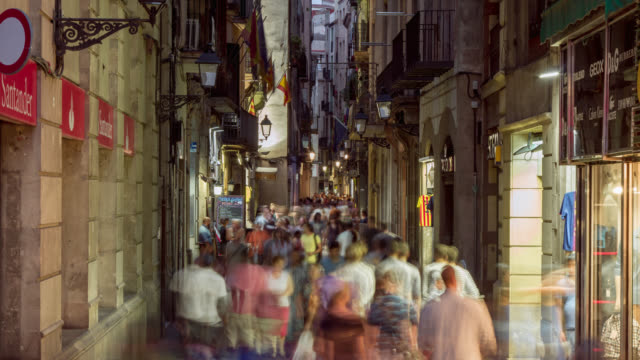 timelapse of people traffic at the gothic quarter in barcelona, spain. - gothic stock videos & royalty-free footage