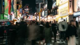 Timelapse of people traveling and shopping in Hongdae street market at Seoul, South Korea. Hongdae district is the most popular shopping market at Seoul city.