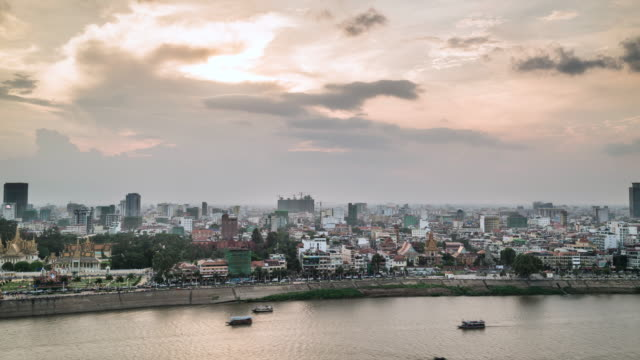 timelapse of phnom penh skyline at dusk - cambodia stock videos and b-roll footage