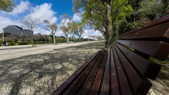 Timelapse of Placa Marquês de Pombal during a sunny day in Lisbon